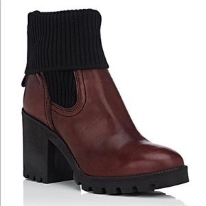 BARNEYS NEW YORK Foldover-Cuff Leather Ankle Boots